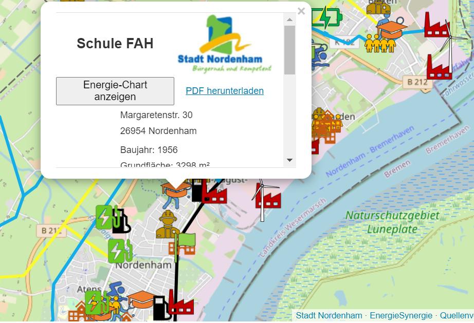 Energiekarte Stadt Nordenham (GIS-Karte)